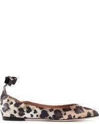 Bailarinas de cuero de leopardo marrónes de RED Valentino