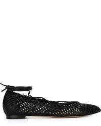Bailarinas de cuero negras de Gianvito Rossi