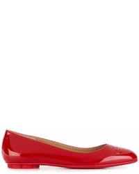 Bailarinas de cuero rojas de Salvatore Ferragamo