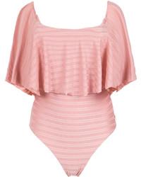 Bañador con volante rosado de BRIGITTE