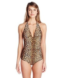 Bañador de leopardo marrón claro de Shoshanna