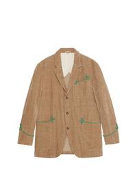 Blazer bordado marrón claro de Gucci