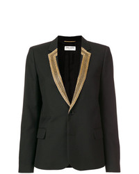 Blazer Bordado Negro de Saint Laurent
