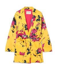 Blazer con print de flores amarillo