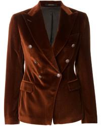 Blazer cruzado de algodón en marrón oscuro de Tagliatore