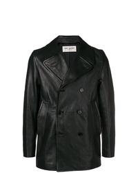 Blazer cruzado de cuero negro de Saint Laurent