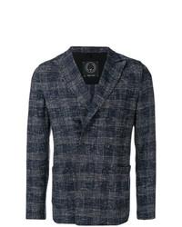 Blazer cruzado de lana a cuadros en gris oscuro de T Jacket