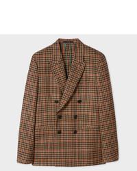 Blazer cruzado de lana a cuadros marrón