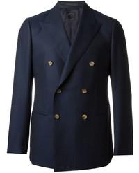 Blazer cruzado de lana azul marino de Caruso
