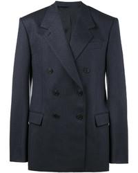 Blazer cruzado de lana de rayas verticales azul marino de Balenciaga