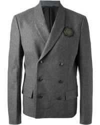 Blazer cruzado de lana en gris oscuro de Diesel Black Gold