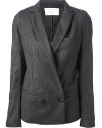 Blazer cruzado de lana en gris oscuro de Societe Anonyme