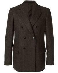Blazer cruzado de lana en marrón oscuro de Mp Massimo Piombo