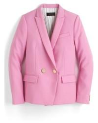 Blazer cruzado de lana rosado