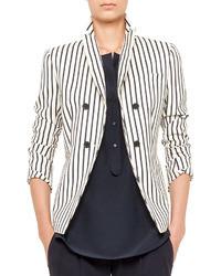 Blazer cruzado de rayas verticales en blanco y negro