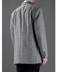 Blazer cruzado de tartán gris de Moschino