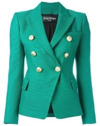 Blazer cruzado en verde azulado de Balmain