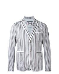 Blazer de algodón de rayas verticales gris de Moncler Gamme Bleu