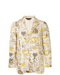 Blazer de algodón estampado en beige de Comme Des Garçons Vintage