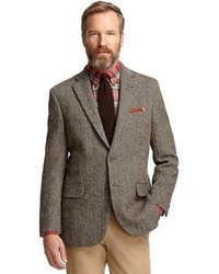 Blazer de Espiguilla Marrón de Brooks Brothers