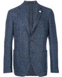 Blazer de lana a cuadros azul marino de Lardini