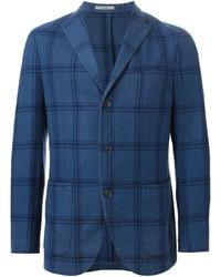 Blazer de lana a cuadros azul