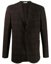 Blazer de lana a cuadros en marrón oscuro de Boglioli