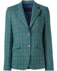 Blazer de lana a cuadros en verde azulado de Etro