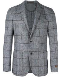 Blazer de lana a cuadros gris de Corneliani