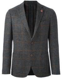 Blazer de lana a cuadros gris de Lardini