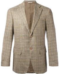 Blazer de lana a cuadros marrón claro de Canali