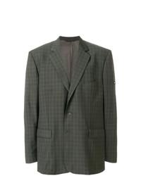Blazer de lana a cuadros verde oliva de Balenciaga