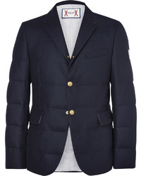 Blazer de lana acolchado azul marino