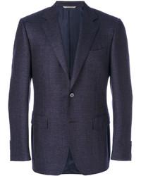 Blazer de lana con relieve azul marino de Canali