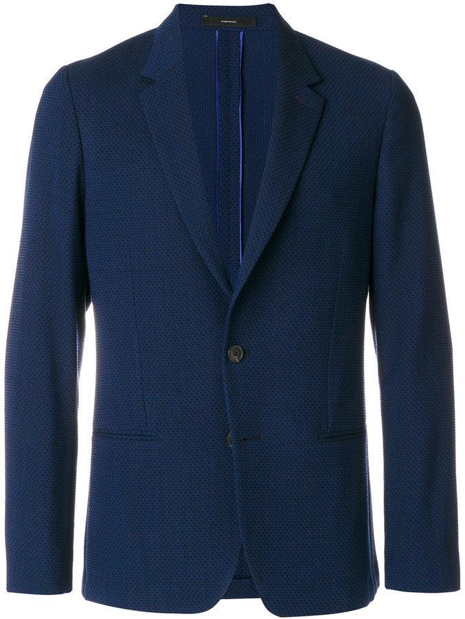 Blazer de lana con relieve azul marino de Paul Smith