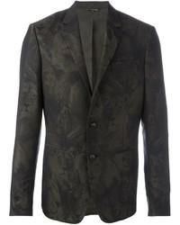 Blazer de lana de camuflaje verde oscuro de Roberto Cavalli