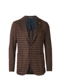 Blazer de lana de cuadro vichy en marrón oscuro de Tagliatore