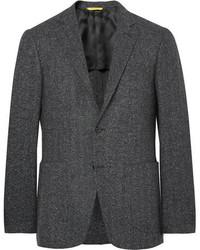 Blazer de lana de espiguilla en gris oscuro