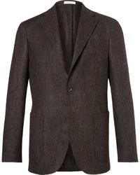 Blazer de lana de espiguilla en marrón oscuro