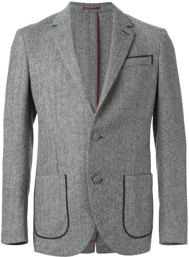 Blazer de lana de espiguilla gris