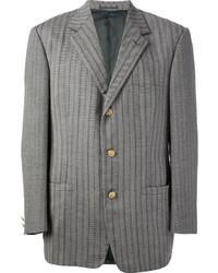 Blazer de lana de espiguilla gris de Versace