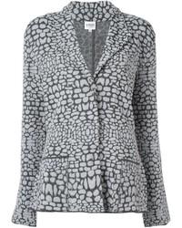 Blazer de lana de punto gris de Armani Collezioni