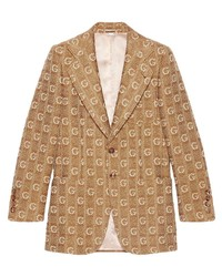 Blazer de lana de punto marrón claro de Gucci