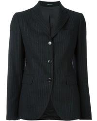 Blazer de lana de rayas verticales en gris oscuro de Tagliatore