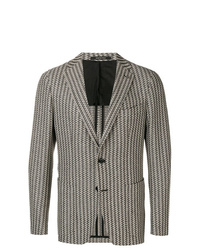 Blazer de lana de rayas verticales gris de Tagliatore