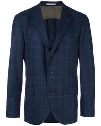 Blazer de lana de tartán azul marino de Brunello Cucinelli