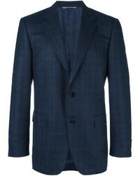 Blazer de lana de tartán azul marino de Canali