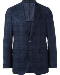 Blazer de lana de tartán azul marino de Hackett