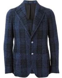 Blazer de lana de tartán azul marino de Tagliatore