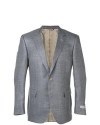 Blazer de lana de tartán gris de Canali